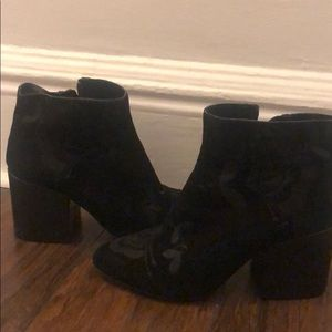 Black Suede Booties with Flower Design